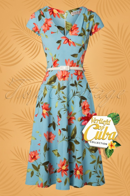 Vintage Chic 28761 Verliefd op Cuba Floral Dress 20181218 002W VOC