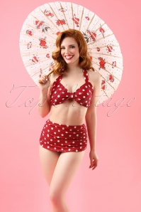 Classic Polka Bikini Top Années 50 en Rouge et Blanc