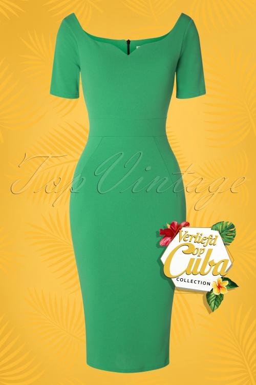 Vintage Chic 28719 Leprchaun Green Pencil Dress 20190121 003W VOC
