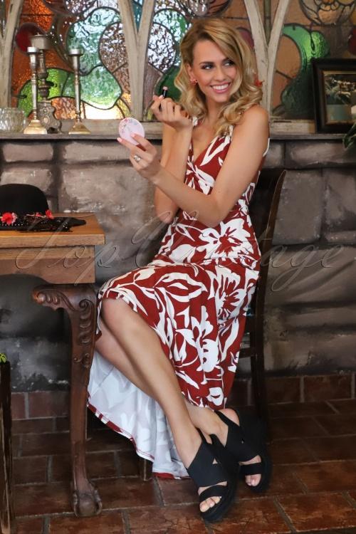 TopVintage Boutique Collection 28786 Verliefd op Cuba Palm Leaf Maxi Dress 20190122 010M W