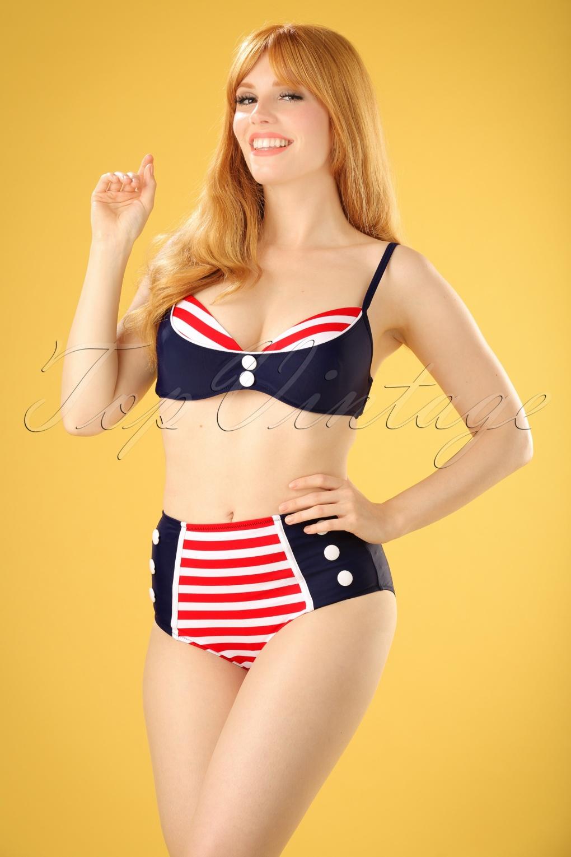 Sailor Dresses, Nautical Theme Dress, WW2 Dresses 50s Joelle Stripes Bikini Pants in Navy and Red �17.63 AT vintagedancer.com