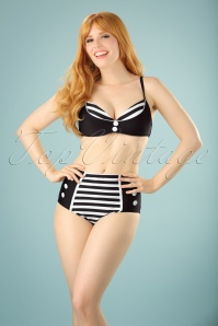 Belsira 50s Joelle Stripes Bikini Top in Black and White