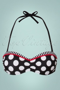 Belsira 50s Debra Polkadot Stripes Halter Bikini Top in Black and White