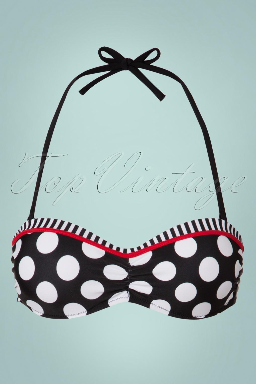Debra Polkadot Stripes Halter Bikini Top Années 50 en Noir et Blanc