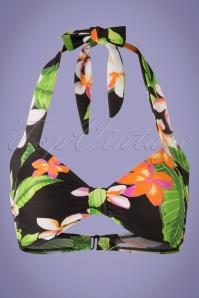 Classic Floral Bikini Top Années 1950 en Noir
