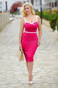 50s Rebecca Pencil Dress in Hot Pink
