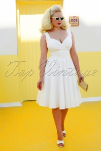 50s Trinity Swing Dress in Off White