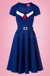 Glamour Bunny 28122 Ella Swing Dress Blue 20190104 0002W