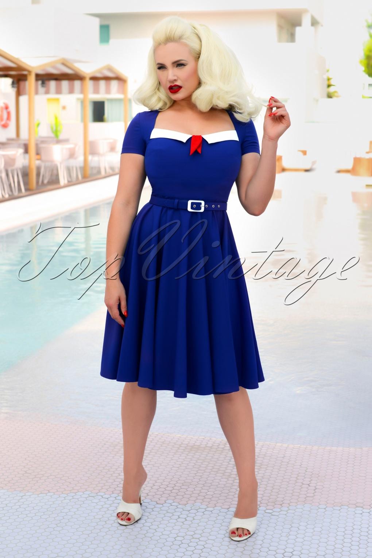 Pin Up Girl Costumes | Pin Up Costumes 50s Ella Swing Dress in Royal Blue £113.30 AT vintagedancer.com