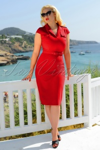 Lydia Pencil Dress Années 50 en Rouge