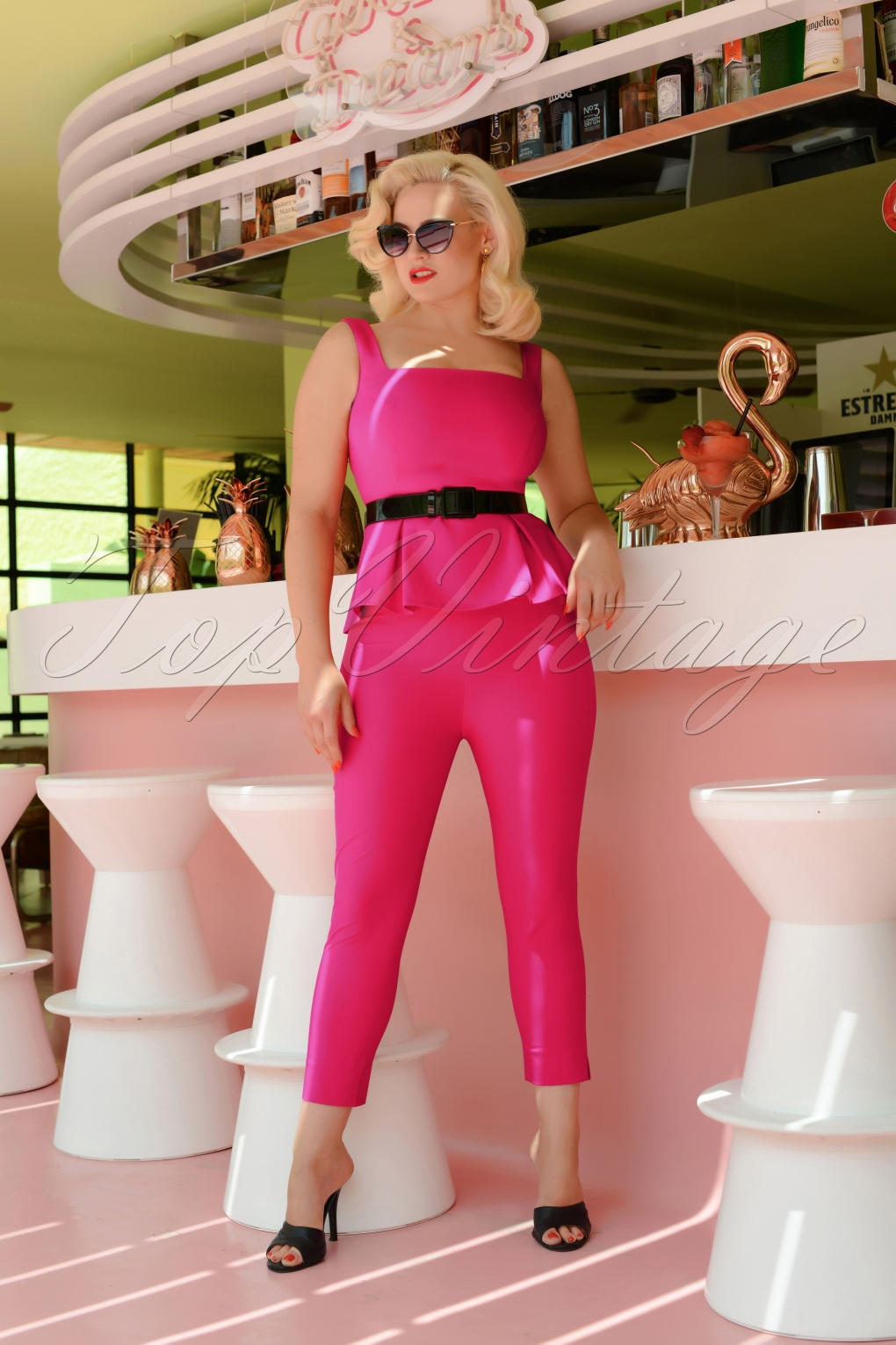 Vintage High Waisted Trousers, Sailor Pants, Jeans 50s Donna Capri Suit Trousers in Hot Pink £52.68 AT vintagedancer.com