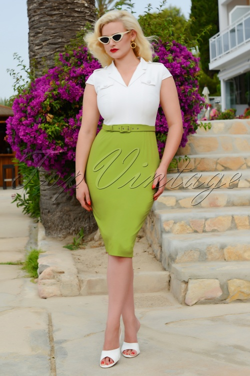 Glamour Bunny 28135 Lydia White Green Dress 20190104 0010W