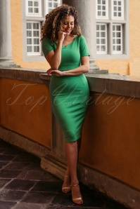 50s Guapa Pencil Dress in Emerald