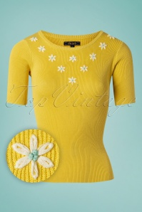 70s Lexi Flower Power Top in Sunny Yellow