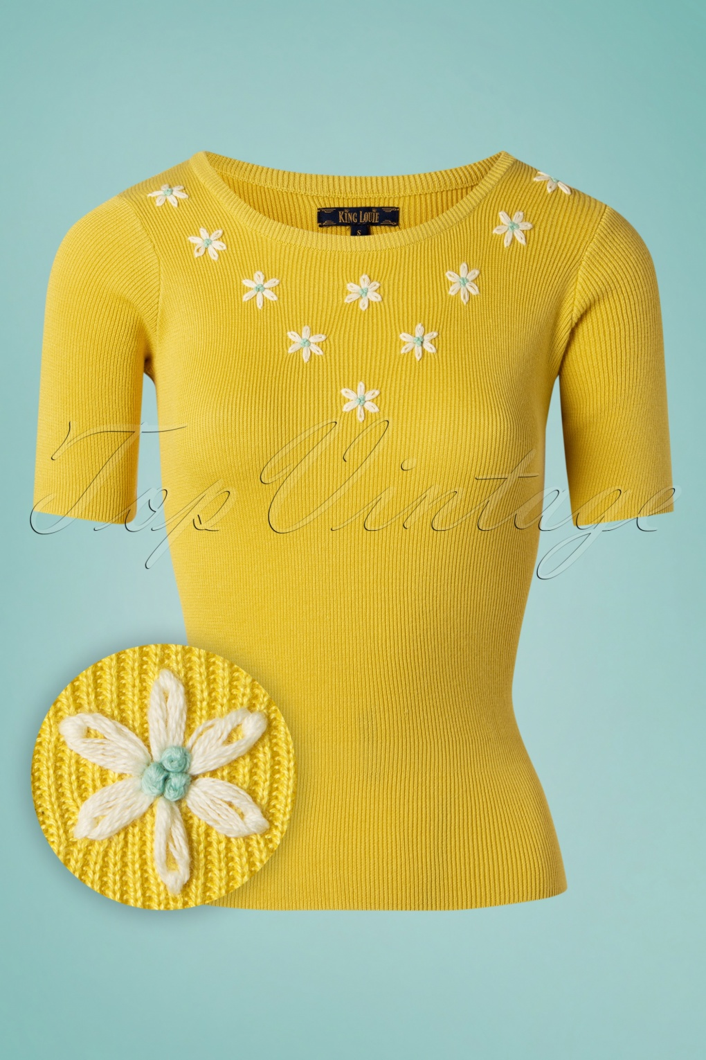 Vintage Sweaters: Cable Knit, Fair Isle Cardigans & Sweaters 70s Lexi Flower Power Top in Sunny Yellow £61.47 AT vintagedancer.com
