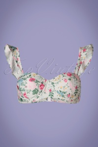 50s Fenna Flowers Bikini Top in Dusty Green