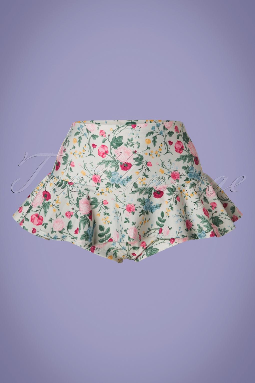 Fenna Flowers Bikini Pants Années 50 en Vert Poudre