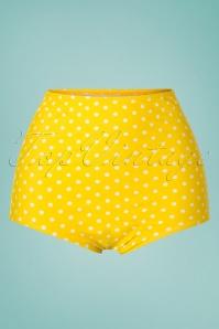 Polly Polkadot Bikini Pants Années 50 en Jaune