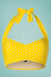 50s Polly Polkadot Bikini Top in Yellow