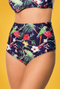 50s Pretty Parrot Bikini Pants in Dark Purple