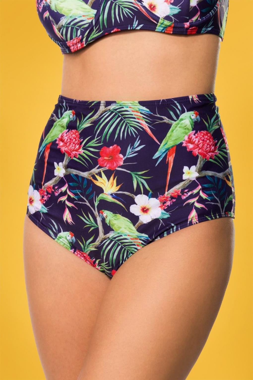 Pretty Parrot Bikini Pants Années 50 en Lilas Foncé