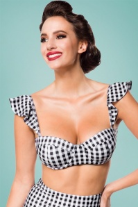 Belsira 50s Gigi Gingham Bikini Top in Black and White