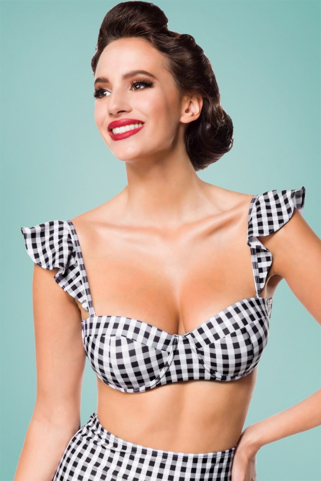 50s Gigi Gingham Bikini Top in Black and White