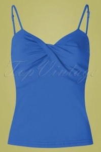 50s Wrap Front Top in Blue