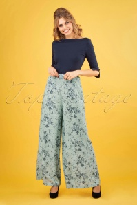 Banned Retro 50s Santorini Palazzo Trousers in Duck Egg