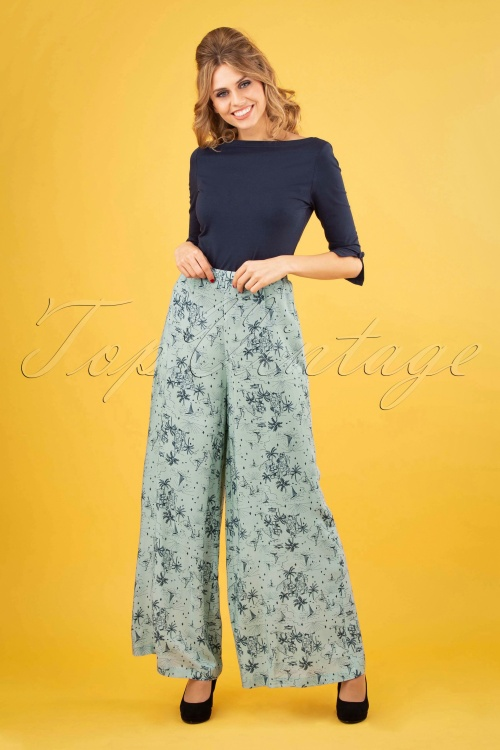 Banned 28478 Santorini Palatso Pants In Duck Egg 20181220 0110W