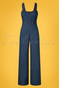 50s Seaside Diner Chambray Jumpsuit in Denim Blue