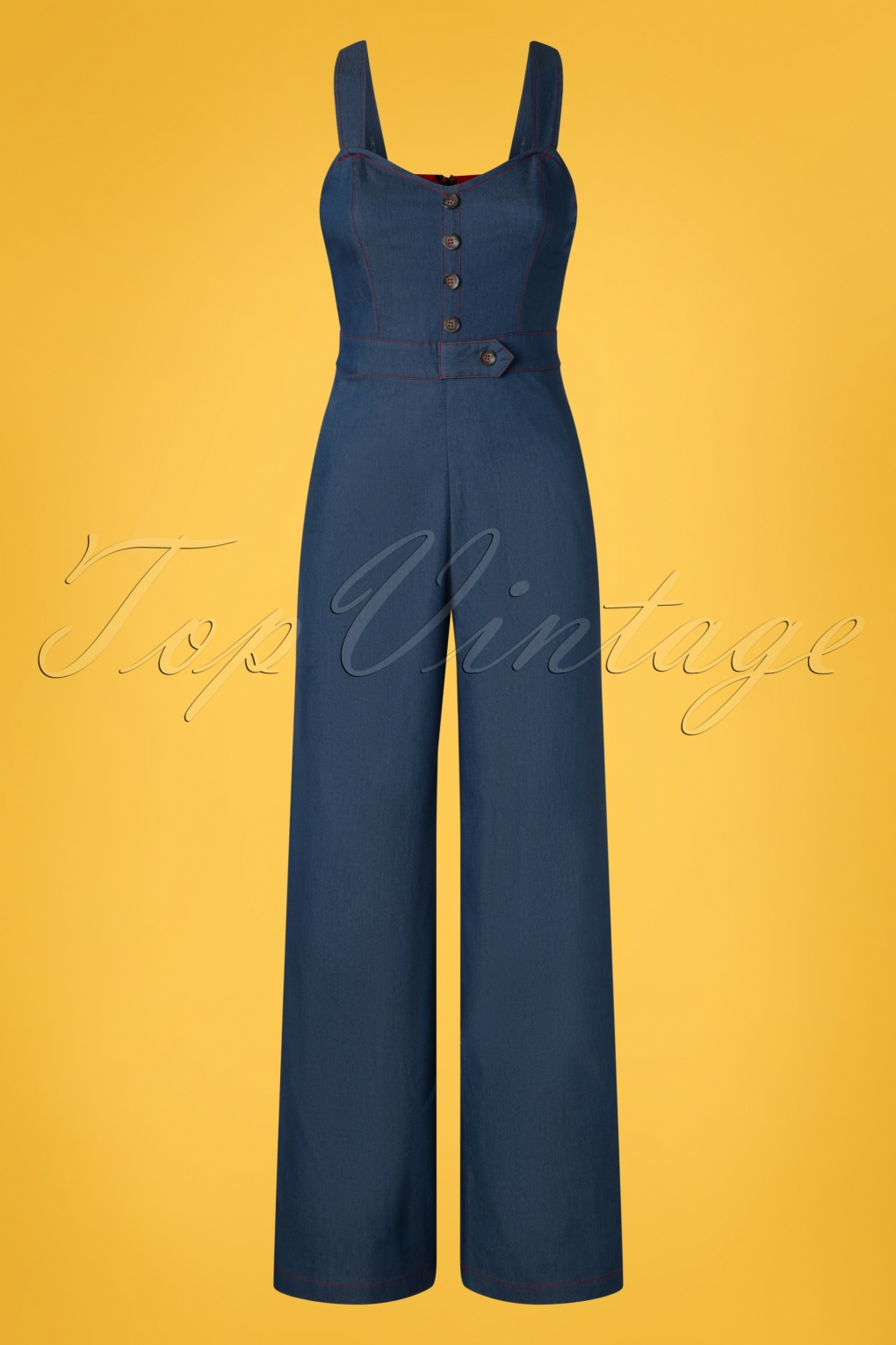 1950s Fashion History: Women's Clothing 50s Seaside Diner Chambray Jumpsuit in Denim Blue £52.68 AT vintagedancer.com