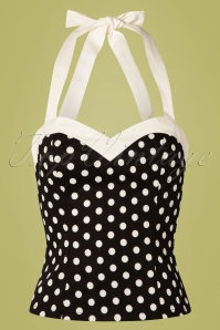 Banned 28459 Polka Love Halter Top Black 20181219 002W