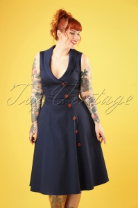 Collectif Clothing 27417 Sara Swing Dress in Navy 20180814 006W