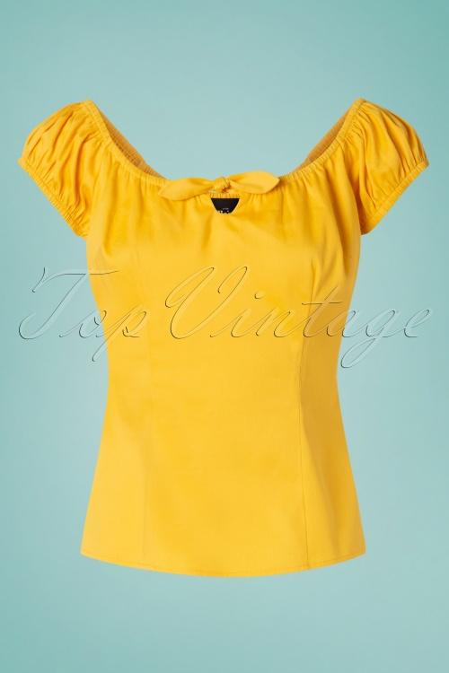 Collectif Clothing 27374 Lorena Plain Top In Yellow 20180813 001W