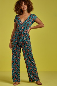 60s Mira Sing-A-Long Jumpsuit in Harbor Blue