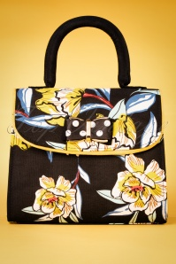 60s Muscat Floral Handbag in Black