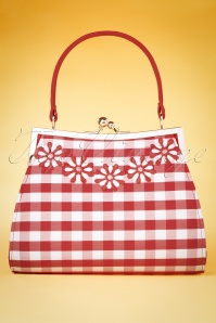Ruby Shoo 60s Mendoza Check Handbag in Red