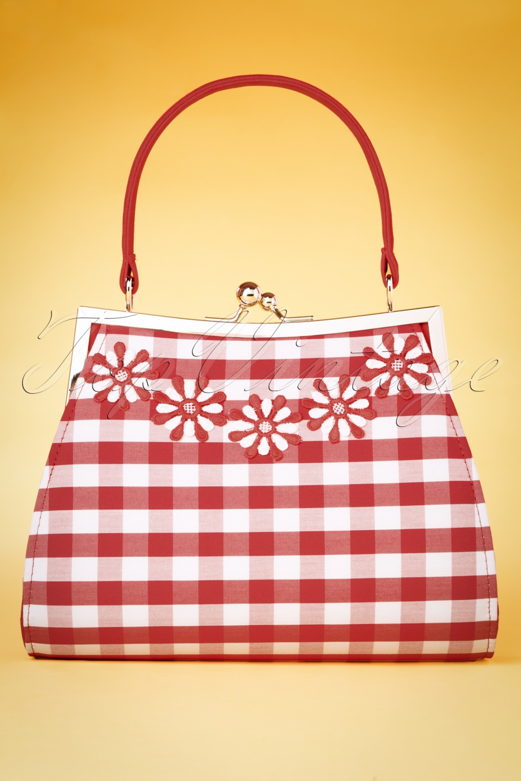 1950s Fashion History: Women's Clothing 60s Mendoza Check Handbag in Red £51.80 AT vintagedancer.com