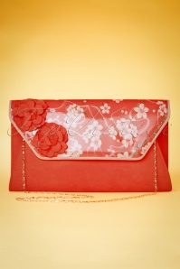 40s Deia Floral Clutch in Coral