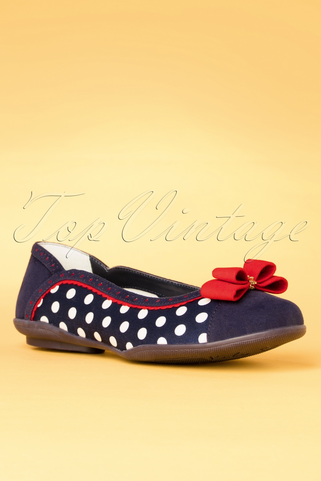 Pin Up Shoes- Heels, Pumps & Flats 60s Lizzie Polkadot Flats in Navy £55.31 AT vintagedancer.com