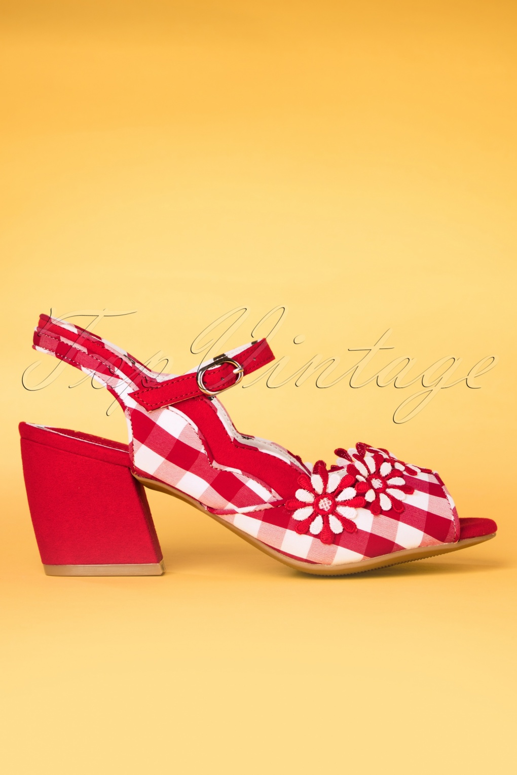 Pin Up Shoes- Heels, Pumps & Flats 60s Hera Checked Block Heel Sandals in Red £64.98 AT vintagedancer.com