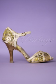 50s Eliza Peeptoe Green in Gold