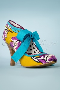 50s Willow Floral Pumps in Aqua and Mustard