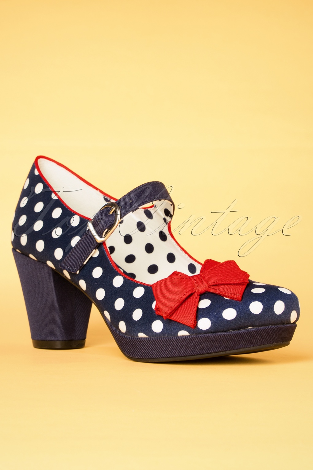Pin Up Shoes- Heels, Pumps & Flats 60s Crystal Polkadot Pumps in Navy £70.25 AT vintagedancer.com