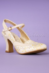 60s Lucia Slingback Pumps in Cream and Lemon