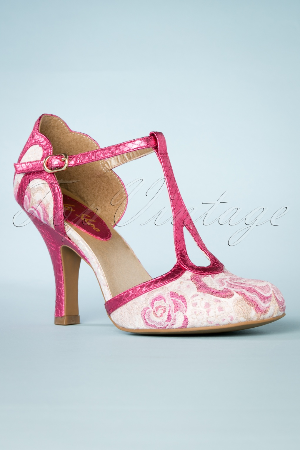 Pin Up Shoes- Heels, Pumps & Flats 50s Polly T-Strap Pumps in Fuchsia £70.25 AT vintagedancer.com