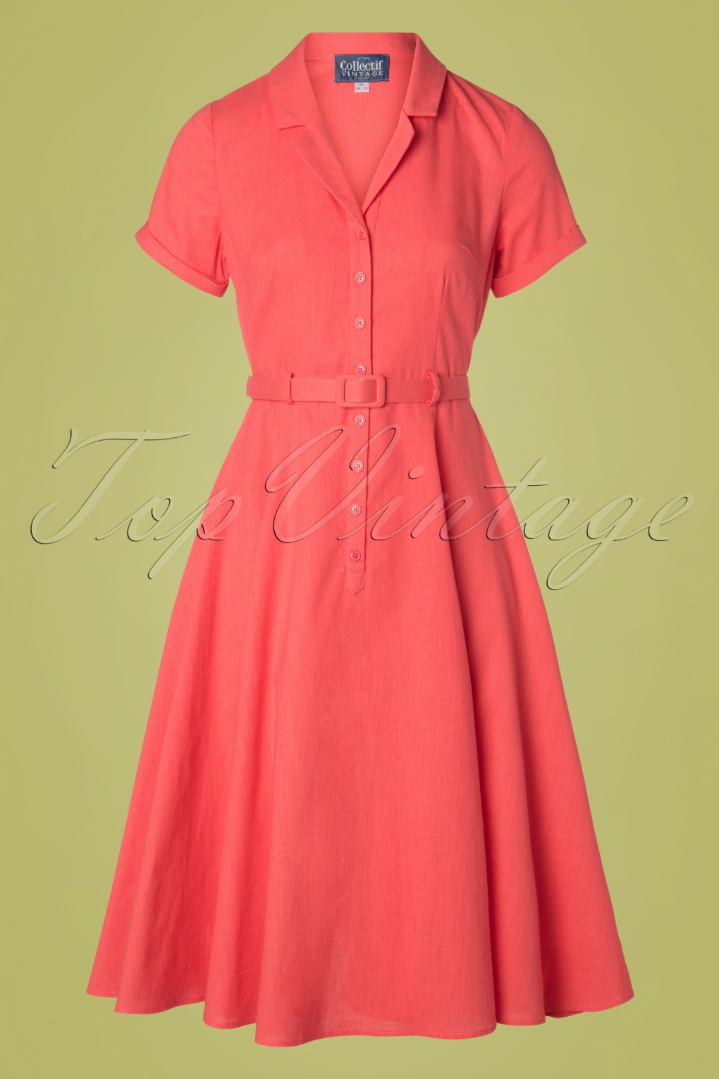 Vintage Tea Dresses, Floral Tea Dresses, Tea Length Dresses 50s Caterina Swing Dress in Coral Pink £72.01 AT vintagedancer.com