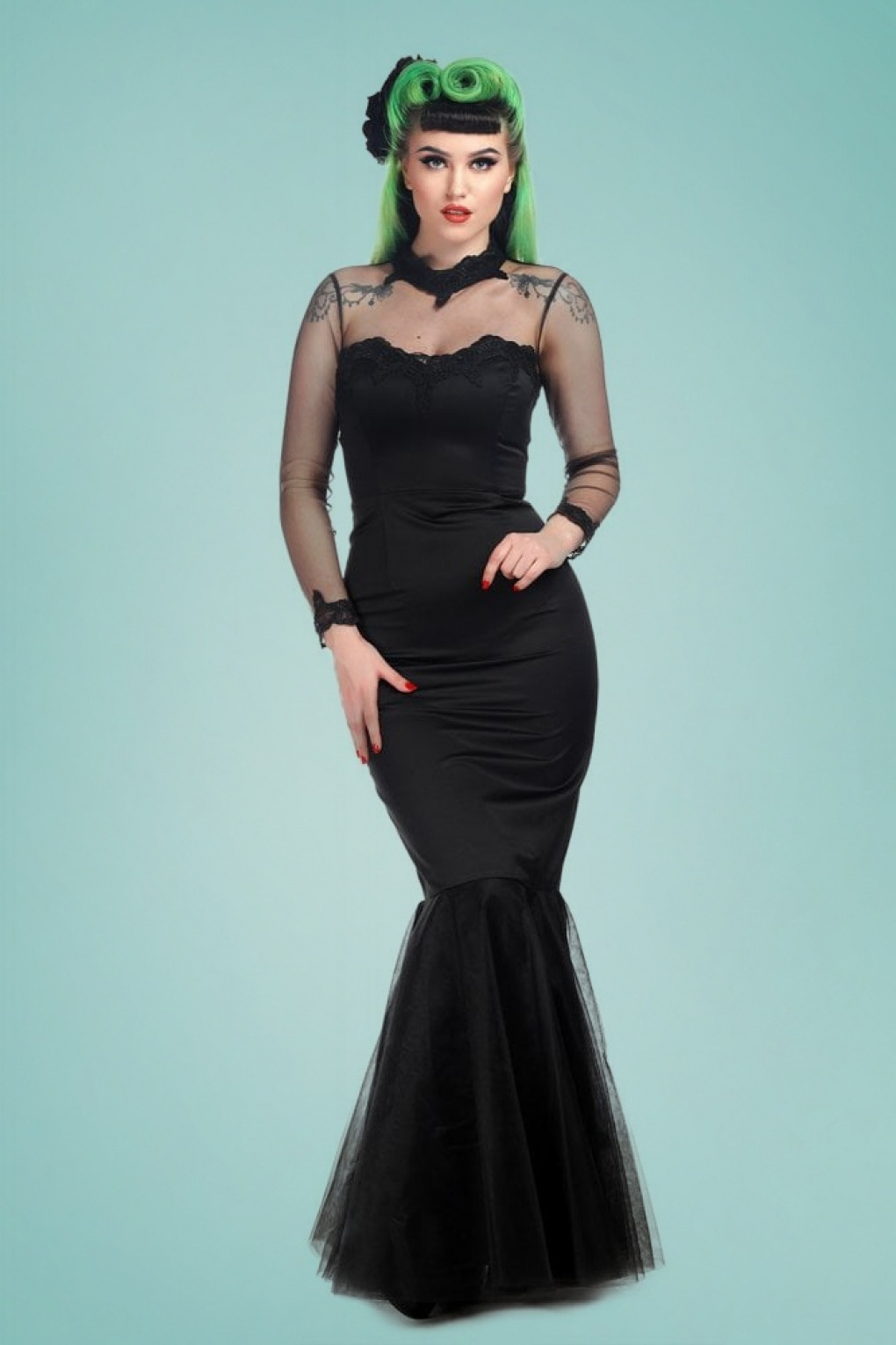 1950s Fashion History: Women's Clothing 50s Lucrezia Occasion Fishtail Maxi Dress in Black £105.40 AT vintagedancer.com
