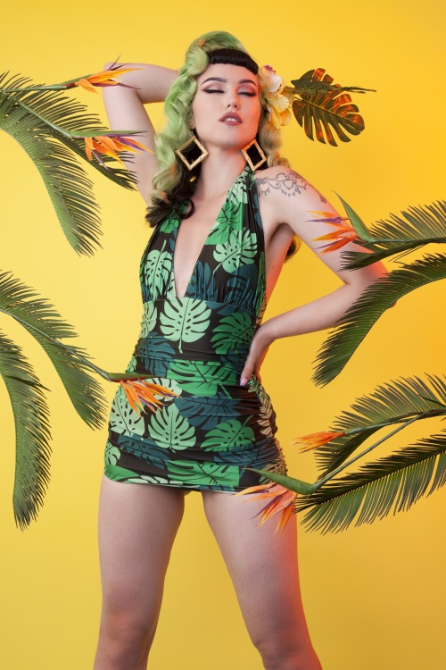 Collectif Clothing 27242 Green Palm Skitted Swimsuit 20190206 1
